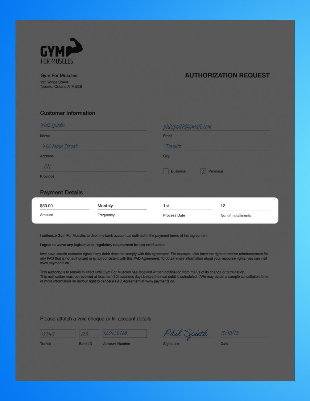 Pre authorized debit form example 2