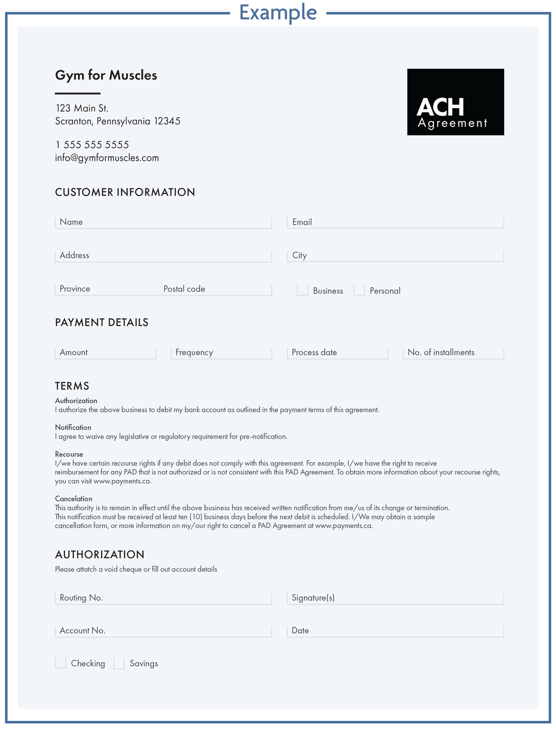 ACH payment authorization example document